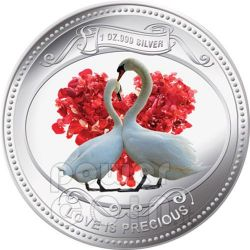 WHITE SWANS Love Is Precious Silver Proof Coin 2$ Niue 2010