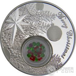 CHRISTMAS TREE BALL Emeralds Rubies 1 Oz Silver Coin 2$ Niue 2016