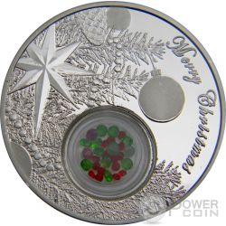 CHRISTMAS TREE BALL Palla Albero Natale Smeraldi Rubini 1 Oz Moneta Argento 2$ Niue 2016