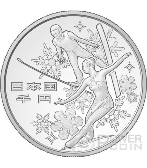 8th ASIAN WINTER GAMES SAPPORO 1 Oz Silver Proof Coin 1000 Yen Japan Mint 2017