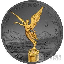 LIBERTAD Golden Enigma Nera Rutenio Moneta Argento Messico 2016