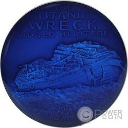 DEEP SEA TITANIC Wreck World Heritage 1 Kg Kilo Серебро Монета 10000 Франков Бенин 2016