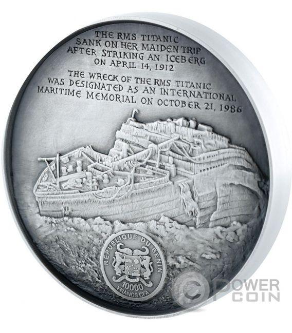 DEEP SEA TITANIC Wreck World Heritage 1 Kg Kilo Silber Münze 10000 Francs Benin 2016