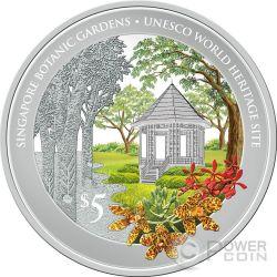 SINGAPORE BOTANIC GARDENS Unesco World Heritage Site 1 Oz Серебро Монета 5$ Сингапур 2016