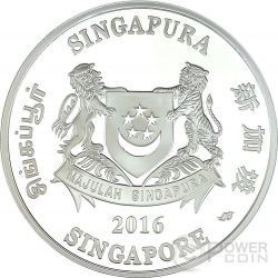 SINGAPORE BOTANIC GARDENS Unesco World Heritage Site 1 Oz Moneta Argento 5$ Singapore 2016