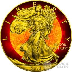 SOLAR FLARE Plata Eagle Walking Liberty Space Collection 1 Oz Moneda Plata 1$ US Mint 2016