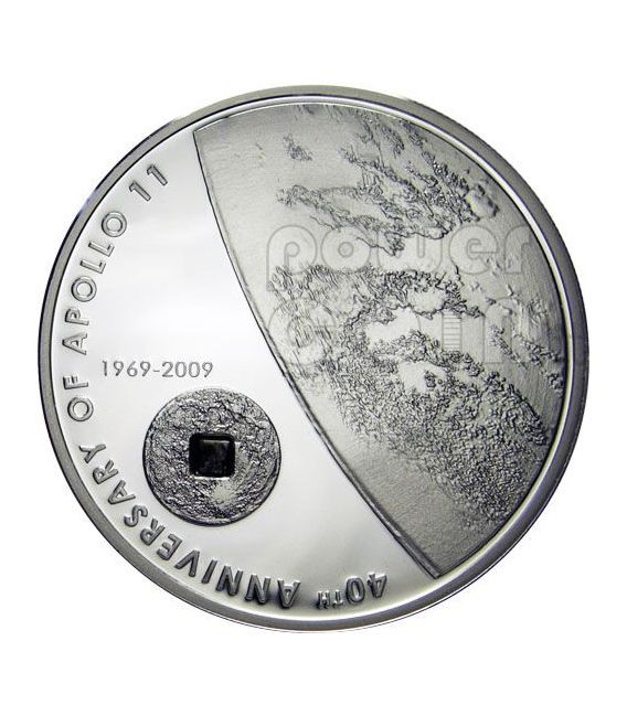 APOLLO 11 MOON Lunar Meteorite Silver Coin 5$ Cook Islands 2009