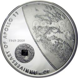 APOLLO 11 MOON Lunar Meteorite Moneda Plata 5$ Cook Islands 2009