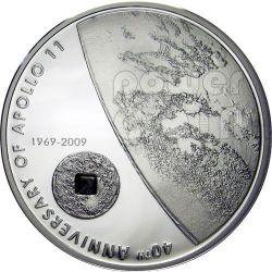 APOLLO 11 MOON Lunar Meteorite Silber Münze 5$ Cook Islands 2009
