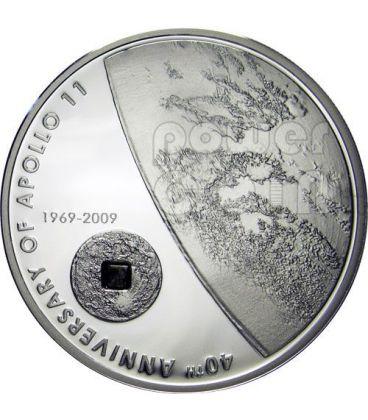 APOLLO 11 MOON Lunar Meteorite Silver Coin 5$ Cook Islands 2009