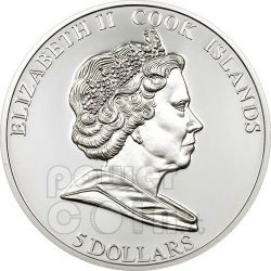 APOLLO 11 MOON Lunar Meteorite Moneda Plata 5$ Cook Islands 2009