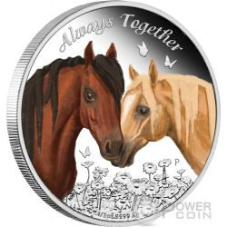 ALWAYS TOGETHER Horses Silber Münze 50 Cents Tuvalu 2017