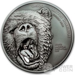 GRIZZLY BEAR Ursus Arctos Horribilis Orso Dente Ceramica North American Predators 2 Oz Moneta Argento 10$ Cook Islands 2017