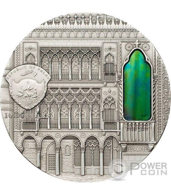 TIFFANY ART VENETIAN GOTHIC 2 Oz Silver Coin 10$ Palau 2013
