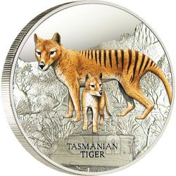 TASMANIAN TIGER Extinct Silver Proof Coin 1$ Tuvalu 2011