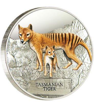 TIGRE DELLA TASMANIA Estinta Moneta Argento 1$ Tuvalu 2011