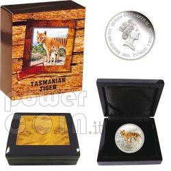 TASMANIAN TIGER Extinct Plata Proof Moneda 1$ Tuvalu 2011