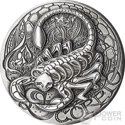 SCORPIO Memento Mori Zodiac Skull Horoscope Moneda Plata 2015