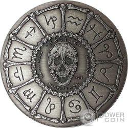 LIBRA Memento Mori Zodiac Skull Horoscope Silver Coin 2015