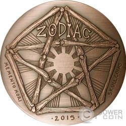 LIBRA Memento Mori Zodiac Skull Horoscope Copper Coin 2015