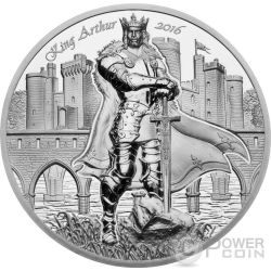 KING ARTHUR Camelot Knights Round Table 2 Oz Moneda Plata 10$ Cook Islands 2016