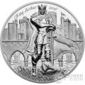 KING ARTHUR Camelot Re Artu Cavalieri Tavola Rotonda 2 Oz Moneta Argento 10$ Cook Islands 2016