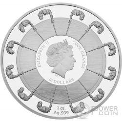 KING ARTHUR Camelot Re Artu Cavalieri Tavola Rotonda 2 Oz Moneta Argento 10$ Cook Islands 2016