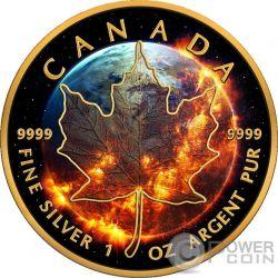 APOCALYPSE Maple Leaf Apocalisse 1 Oz Moneta Argento 5$ Canada 2016
