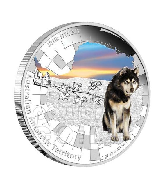 ALASKAN HUSKY Australian Antarctic Territory Moneda Plata 1$ Australia 2010