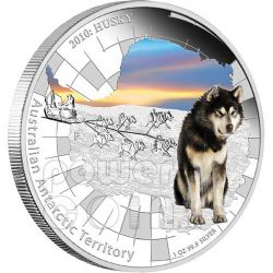 ALASKAN HUSKY Australian Antarctic Territory Silver Coin 1$ Australia 2010