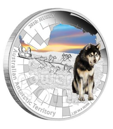 ALASKAN HUSKY Territorio Antartico Moneta Argento 1$ Australia 2010
