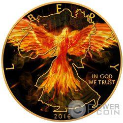 WALKING LIBERTY Burning Eagle 1 Oz Moneda Plata 1$ US Mint 2016