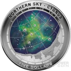 CYGNUS CONSTELLATION Northern Sky Curved Domed Серебро Монета 5$ Австралия 2016