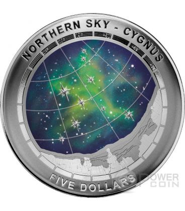 CYGNUS CONSTELLATION Northern Sky Curved Domed Silver Coin 5$ Australia 2016