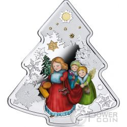 CHRISTMAS TREE Shape 1 Oz Silver Coin 2$ Niue 2016