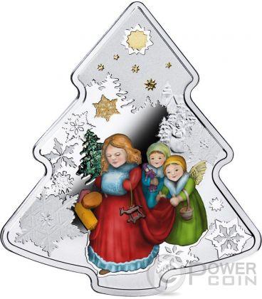CHRISTMAS TREE Shape 1 Oz Silver Coin 2$ Niue Island 2016