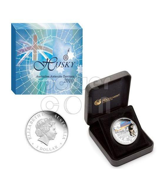 ALASKAN HUSKY Australian Antarctic Territory Silber Münze 1$ Australia 2010