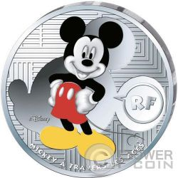 MICKEY MOUSE Through The Ages Topolino Disney Moneta Argento 10€ Euro Francia 2016