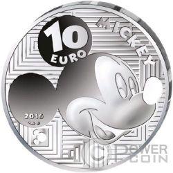 MICKEY MOUSE Through The Ages Topolino Disney Moneta Argento 10€ Euro Francia 2016