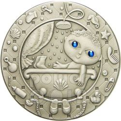 AQUARIUS Horoscope Zodiac Swarovski Silver Coin Belarus 2009