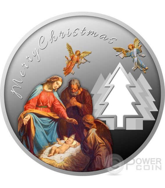 MAGIC OF CHRISTMAS Happy New Year Cut Out Tree Silver Coin 500 Francs Cameroon 2017