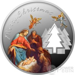 MAGIC OF CHRISTMAS Felice Anno Nuovo Albero Natale Moneta Argento 500 Franchi Camerun 2017