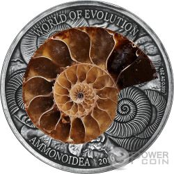 AMMONITE World of Evolution 1 Oz Moneta Argento 1000 Franchi Burkina Faso 2016