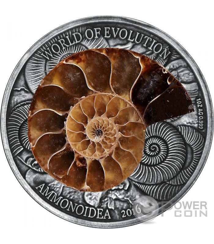 Ammonite World Of Evolution 1 Oz Silver Coin 1000 Francs