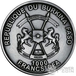 AMMONITE World of Evolution 1 Oz Moneda Plata 1000 Francs Burkina Faso 2016