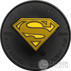 SUPERMAN Maple Shield Simbolo Scudo 1 Oz Moneta Argento 5$ Canada 2016