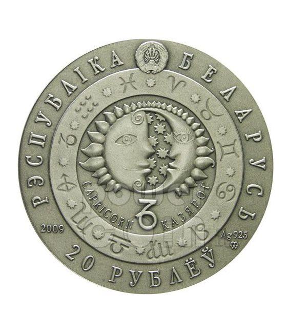 CAPRICORN Horoscope Zodiac Swarovski Silber Münze Belarus 2009