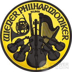 WIEDER PHILHARMONIKER Золото Shadows Vienna Philharmonic Orchestra 1 Oz Серебро Монета 1.5€ Euro Австрия 2016