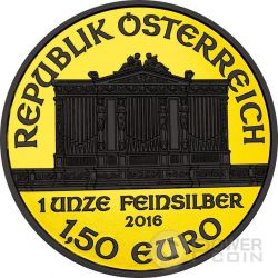 WIEDER PHILHARMONIKER Gold Shadows Orchestra Filarmonica Vienna 1 Oz Moneta Argento 1.5€ Euro Austria 2016