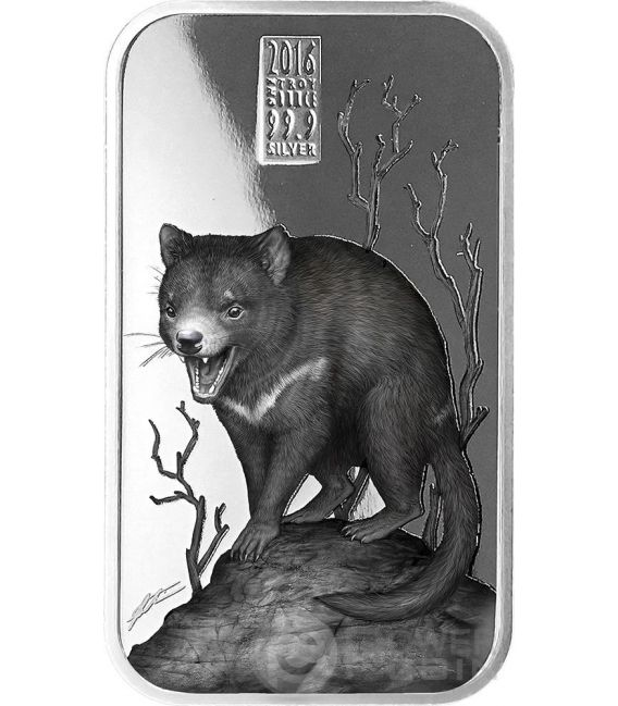 TASMANIAN DEVIL Diavolo Tasmania Australian Apex Predators 1 Oz Moneta Argento 1$ Cook Islands 2016